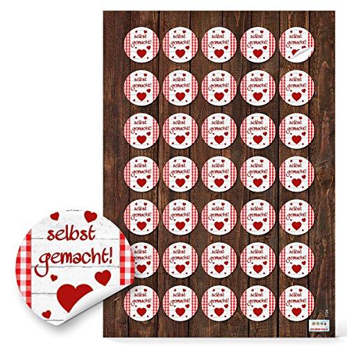 2 x 35 Stück SELBST-GEMACHT Aufkleber 3 cm rot weiß kariert HERZ handgemacht Geschenkaufkleber Sticker selbstklebende Etiketten Pralinen Gebäck Basteln Verpackung give-away Gastgeschenk Geschenke