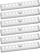AMIR Motion Sensor Closet Lights, DIY Stick-on Anywhere Portable 10-LED Wireless Cabinet Night/Stairs/Step Light Bar with Magnetic Strip Battery Operated (Cool White - Pack of 6)