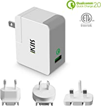Quick Charge 2.0, iKits [ETL Listed] USB Wall Charger 1 Port 18W Quick Charger Compatible with S9/S8/S7/Edge, HTC 10,LG G5, Smart IC for iPhone x/8/iPad & More International Travel Adapter, White