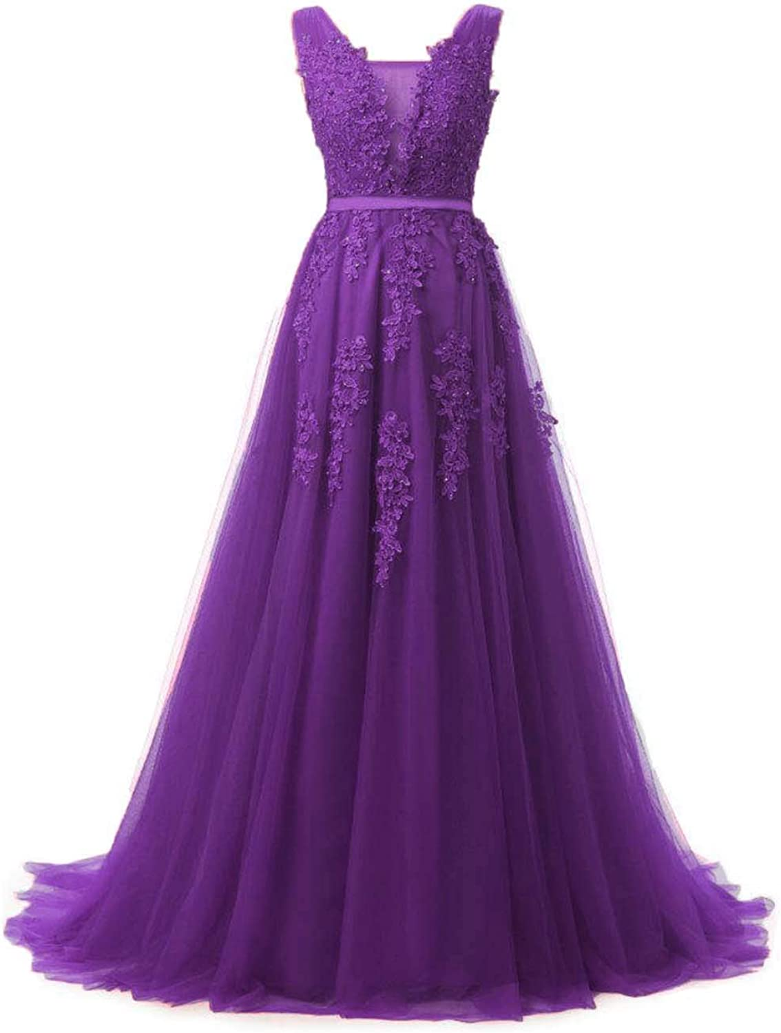 Huifany Women's V Neck Lace Aline Empire Long Formal Evening Dress Prom Gown