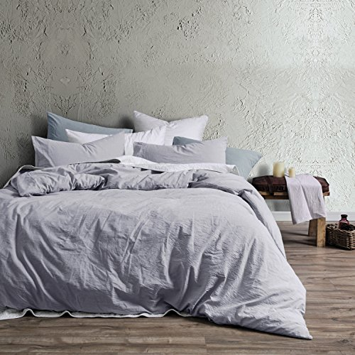 Washed Cotton Chambray Duvet Cover Solid Color Casual Modern Style Bedding Set Relaxed Soft Feel Natural Wrinkled Look (King, Faded Violet)