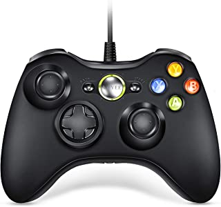 VOYEE Xbox 360 Controller Upgraded Wired Controller Compatible with Microsoft Xbox 360 & Slim/PC Windows 10/8/7 (Black)