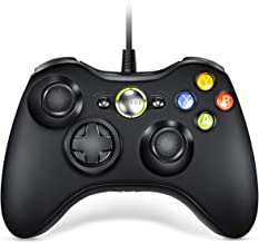VOYEE Wired Controller Compatible with Microsoft Xbox 360 & Slim/PC Windows 10/8/7 (Black) | Upgraded