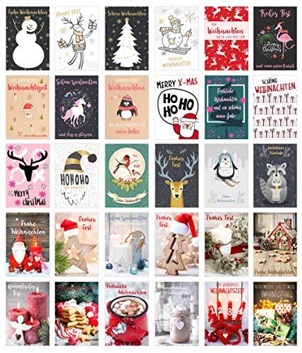 Edition Seidel - Set di cartoline natalizie, set di biglietti natalizi., set 2, 30 Karten