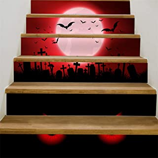 Iusun Halloween 3D Sticker Crow Tombstone Staircase Sticker Waterproof Removable DIY Wall Mural Paper Decoration for Living Room Home Nursery Bedroom Office Supplies Decal (H)