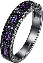 LWLH Womens Black Gold Plated Purple Amethyst Square Cubic Zirconia CZ Love Eternity Ring Wedding Band