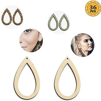 180 Set Unfinished Wood Pendants Jump Rings /& Earring Hooks DIY Dangle Earring
