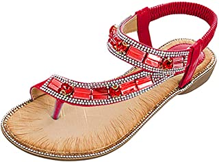 Women's Ladies Bohemian Toepost Crystal Elastic Band Beach Sandals Roman Shoes Gladiator Sandals