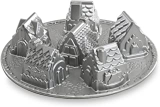 Nordic Ware Cosy Village Cake Pan, Village Shaped Cake Mould Tray, Cast Aluminium Cake Tin, Muffin Tray for Six Small Hous...