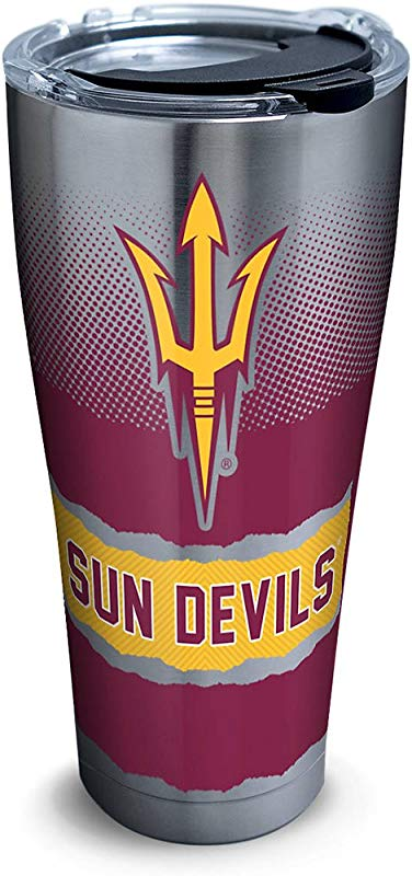 Tervis 1268373 Arizona State Sun Devils Knockout Stainless Steel Tumbler With Clear And Black Hammer Lid 30oz Silver