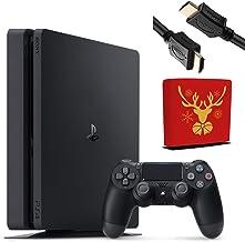 Sony Playstation 4 Console - 1TB Slim Edition Jet Black con 1 controlador inalámbrico DualShock 4 - Paquete familiar de Navidad para juegos - iPuzzle reno cubierta antipolvo para PS4
