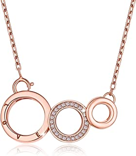 FOREVER QUEEN Generation Necklace, 925 Sterling Silver Rose Gold 3 Interlocking Infinity Circles Necklace Pendant for Grandma& Mom & Granddaughter Valentine's Day Mothers Day Jewelry Birthday Gift