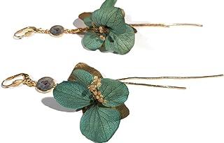 GINA orecchini fiori di ortensia stabilizzato foglie di zingara ottone catena oro 24 carati resina (Clip per le orecchie n...