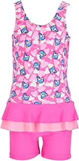 Girls Frilly Skirt One Piece Rash Guard Swimsuit Kid Water Sport Short Swimsuit UPF 50+ Sun Protection Bathing Suits