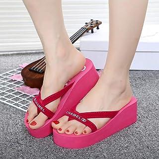 ZUOX Couples Chaussures de Plage décontractées,Sandales à Talon compensé pour Filles avec Tongs en Tissu antidérapant-M_3...