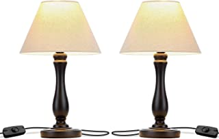 Brightech Noah - Bedside Table Lamp Set of 2: Elegant Bedroom Nightstand Lamp in Black Wood. Soft Accent Light. Also for Living Room Side & End Tables. Incl. LED Bulb, Cord
