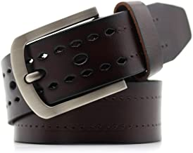 Men's Belt Classic Genuine Leather Dress Belt with Single Prong Fashion (Color : Coffee, Size : S)