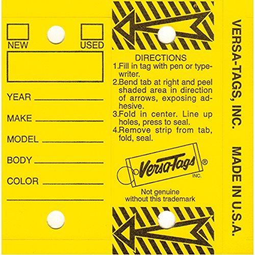 VERSA-TAGS Self Laminating Self Protecting Key Tags with Rings (250 per Box) (Yellow)