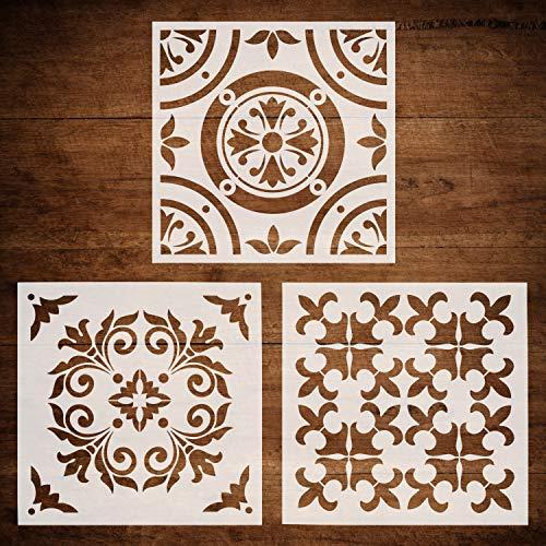 CODOHI 3 Packs Wandmöbel Boden Schablonen (30 x 30 cm) wiederverwendbare Airbrush-Malvorlage für Fliesen Stoff Glas - DIY marokkanischen Mustern