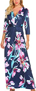 Qearal Women's 3/4 Sleeves V Neck Twist Knot Casual Floral Maxi Long Dress - Blue - Medium