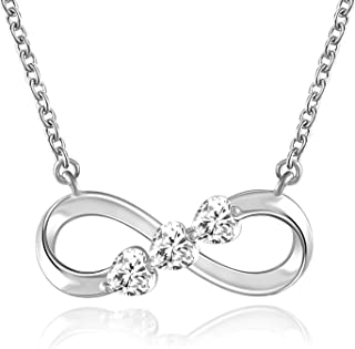 QLEESI 925 Sterling Silver Infinity Heart Necklace for Women Love Pendant Necklace 5A Cubic Zirconia Jewelry for Mother Wife Daughter