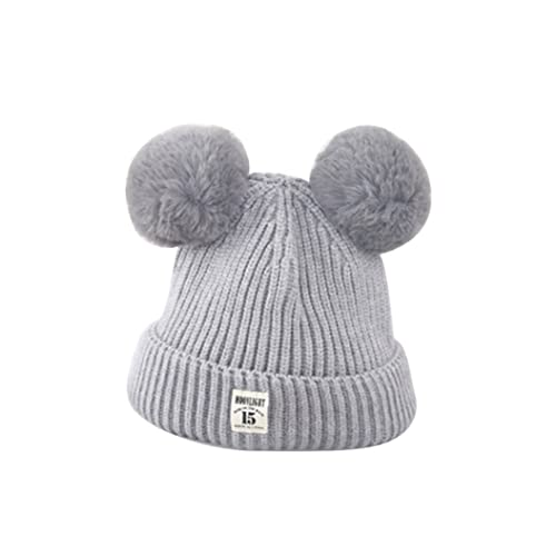 6dc5ac2b075 ZHOUBA Baby Boys Girls Bobble Knit Beanie Hat Plush Ball Ears Toddlers  Winter Warm Double Pompom