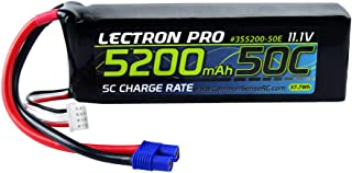 Lectron Pro 11.1V 5200mAh 50C Lipo Battery with EC3 Connector for 1/10 Scale Cars, Trucks, and Buggies
