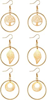 JewelryWe 3Pairs Women's Dangle Earrings Set,Large Hoop Hollowed Tree of Life/Leaf Dangling Stainless Steel Stud Earrings ...