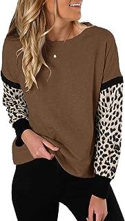 Topstype Camiseta de manga larga con estampado de animales para mujer, cuello redondo, informal, con estampado de leopard...