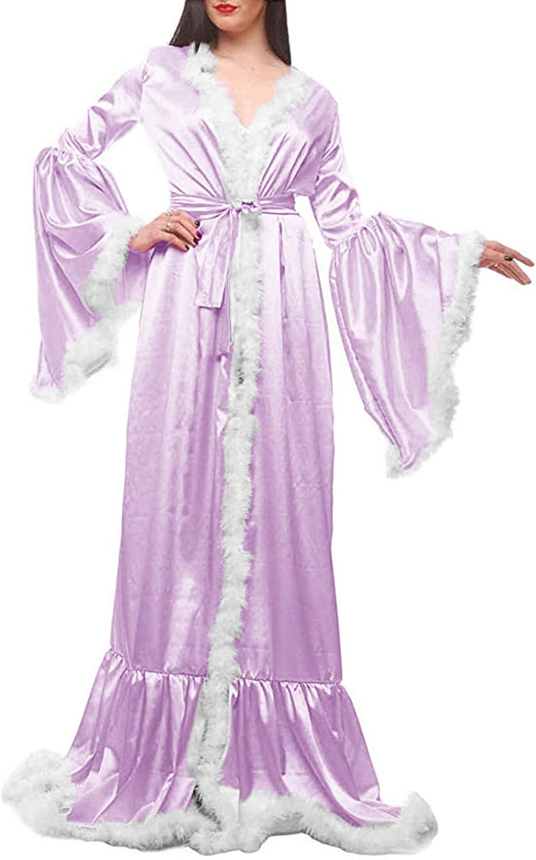 Tianzhihe Womens Feather Robe Long Silk Satin Boudoir Bridal Lingerie Bathgown Wedding Scarf Sleepwear