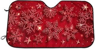Sunshade Christmas Shining Red Snowflake Car Windshields Shade Blocks UV Rays Sunshield Shade Lightweight Sun Shade Heat Insulation Windshield Cover to Keep Cars Cool for Truck Camper Van