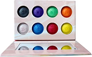 Highly Pigmented Eyeshadow Palette, Everfavor 8 Bright Colors Eye Shadow Palettes Colorful Shimmer Baked Eyeshadow Makeup Palette Long Lasting Waterproof Cosmetics for Halloween , Cruelty-Free