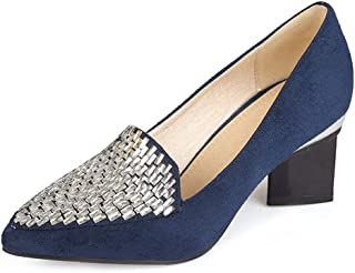Women's Pointed Toe Dress Oxfords Loafers Shoes Slip-On Studded Retro Block High Heel Classic Pumps