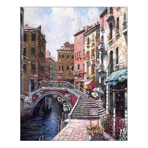 "Beautiful Modern Art Watercolor Painting Rich Retro town of Venice Italy Canvas Print Wall Art 16"" x 20"" Inch, Stretched and Framed Artwork Decor Wall Living room Office, Art Abstract City Landscape Watercolor Picture Canvas Wall Art Print"