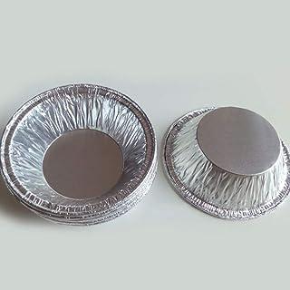 50pcs disposable kitchen baking round egg tart can Cake cup mould maker cake cup foil tart pot (silver),Mini Aluminum Foil...
