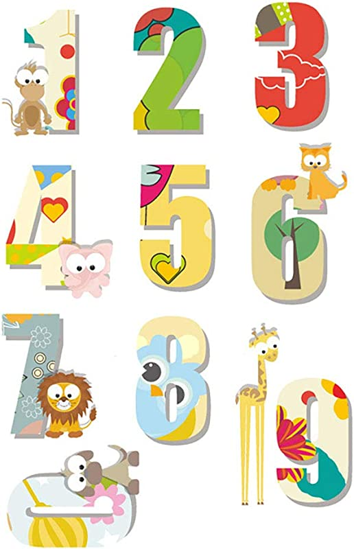 NACOLA Cartoon Animal Numbers Wall Decals DIY Removable Vinyl Wall Stickers For Kids Nursery Bedroom