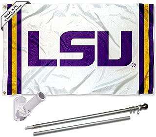 Louisiana State LSU Tigers Stripes Flag with Pole and Bracket Kit