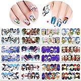 Konsait Navidad uñas calcomanías autoadherentes Calcomanía Transferible Nail Art Pegatinas Nail Sticker para mujeres niños niñas diseños uñas para fiesta de Navidad uñas decoración (12 Hojas)