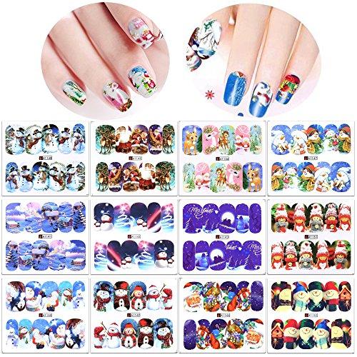 Konsait Noël stickers ongles autocollant de l'eau de transfert (12 Pack), Noël ongles nail art nail tattoo pour les femmes enfants filles baiser dessins ongles decoration Noël cadeau
