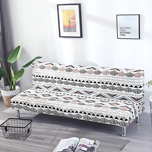 Einfarbig Armlose Sofabettüberzug Polyester Spandex Stretch Futon Schutzhülle Protector 3-Sitzer elastisch vollklappbar Couch Sofa Shield für Klappcouch ohne Armlehnen (Vintage Print Pattern-d)