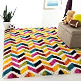 SAFAVIEH Kids Shag Collection SGK565A Rainbow Chevron Non-Shedding Living Room Bedroom Dining Room Entryway Plush 2-inch Thick Area Rug, 8' x 10', Ivory / Multi