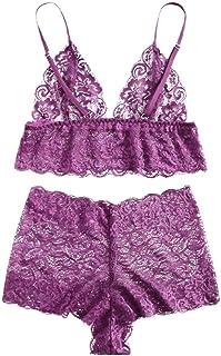 e67a73c836406 Women Sexy Lace Lingerie Set Plus Size Eyelash Bra+Briefs Sleepwear  Temptation Underwear Ladies Solid
