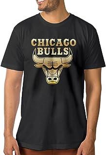 【エクセル】大きいサイズ シカゴ・ブルズ ゴールド ロゴ Tシャツ 男性 半袖 アウトドア フィットネス トレーニング クルーネック