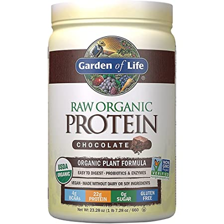 Garden of Life Raw Organic Plant Based Protein Powder, Chocolate - Vegan Protein Shake with BCAAs, Probiotics & Digestive Enzymes - No Soy, Dairy, Lactose or Gluten, Sugar Free - 20 servings