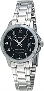 Casio Women's Black Dial Stainless Steel Band Watch - LTP-V004D-1B
