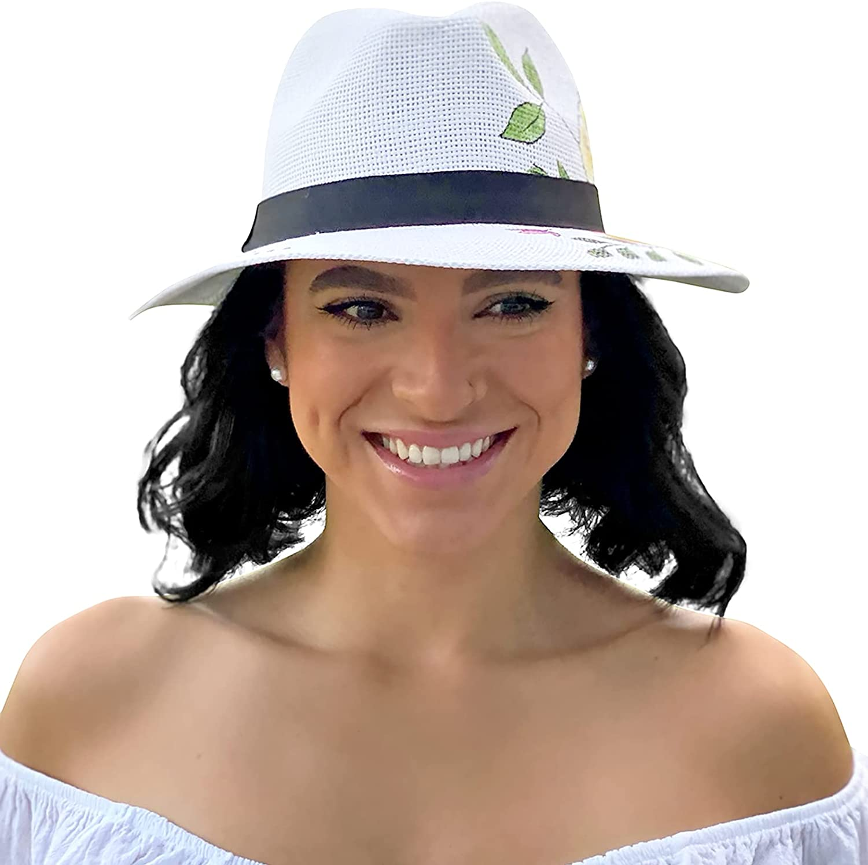 Sowift Straw Hat Women Panama Hat Men Summer Beach Sun Hat UPF Wide Brim Fedora Cap