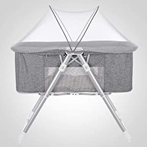 ZRWZZ Multifunctional Crib Unisex Portable Crib Baby Travel Bed Newborn Comfort Baby Stroller Pure Solid Wood Zero Distance Contact Travel Bed  Color Gray