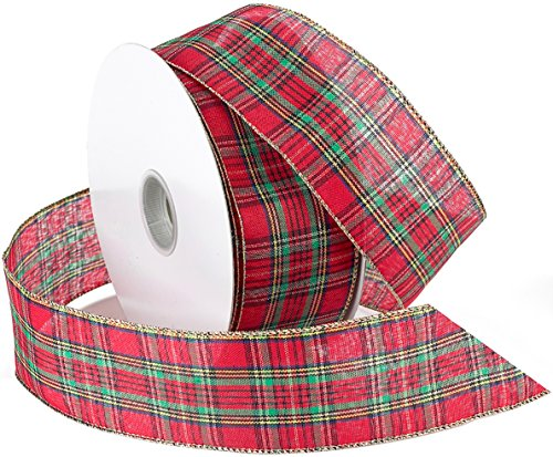 Morex Ribbon Festival Ribbon, 2.5' X 50-Yd, Red Plaid