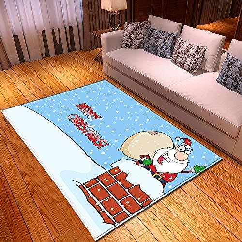 CMwardrobe Wohnzimmer Große Teppich Moderne Designer Blaues Weihnachtsgroßvater-Geschenk Home Dekorative Teppich Boden Kachel Pflegeleicht 120×180CM(3ft11 x5ft11)