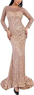 Women O Neck Long Sleeve Pattern Glitter Bling Maxi Elegant Dress Rose Gold s